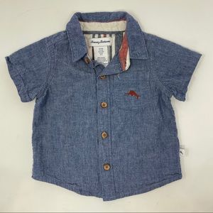 Tommy Bahama blue button down shirt baby boy 12M